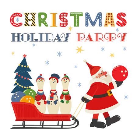 Santa Claus, bowling pins in sleigh comic poster