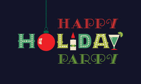 Christmas happy holiday party flat vector greeting Ilustração