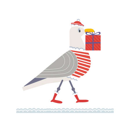 Cute seagull with Christmas gift box vector icon 向量圖像