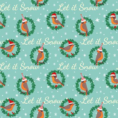 Hand drawn cute birds Christmas seamless pattern