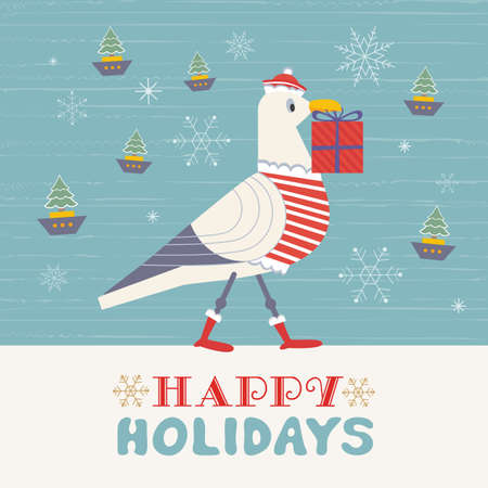 Cute seagull with Christmas gift box vector poster