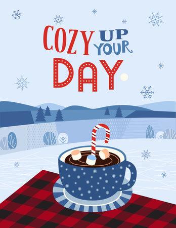 Hot cocoa mug on buffalo plaid flat vector typography poster. Hand drawn hot chocolate cup, cookie cartoon. Cute christmas coffee mug design. Decorative winter seasonal holiday background illustration