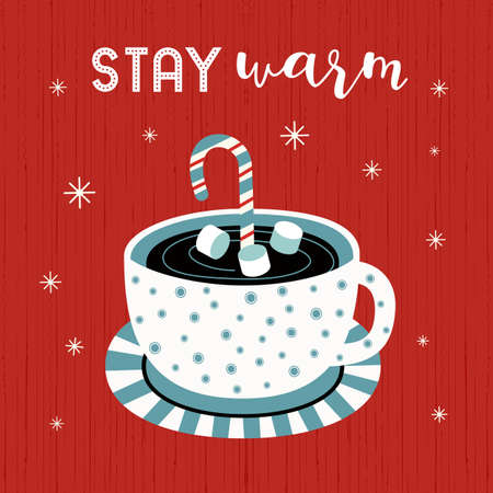 Hot cocoa cup, marshmallows vector poster. Winter hot drink chocolate cup cartoon background. Christmas Coffee mug, candy cane cute cartoon design. Cold winter season warm cocoa bar menu illustration