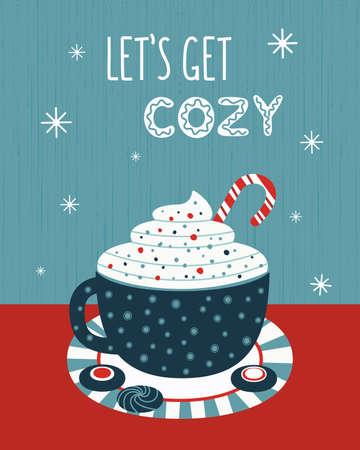 Hot cocoa mug whipped cream flat vector poster