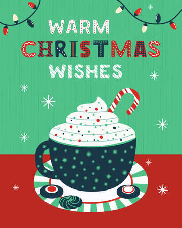 Warm Christmas wishes cocoa cup vector poster Ilustração