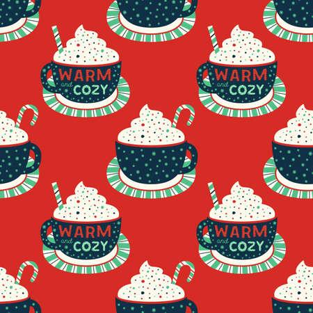 Warm cozy cocoa cup vintage retro seamless pattern