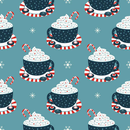 Wintertime holidays cocoa cup seamless pattern
