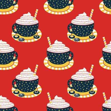 Cocoa cup whipped cream flat seamless pattern Ilustração