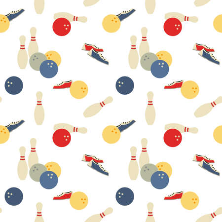 Bowling sport game signs seamless vector pattern