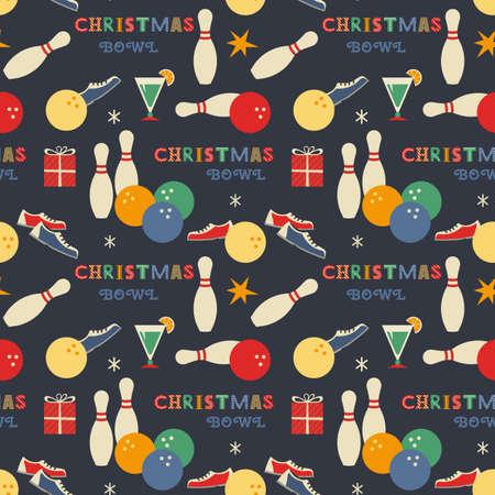 Christmas holiday Bowling seamless vector pattern