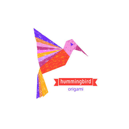 Cartoon flying abstract hummingbird icon. Freehand drawn stylized emblem. Template logo design. Colorful symbol sign isolated on white. Textured grunge element banner background. Vector illustration