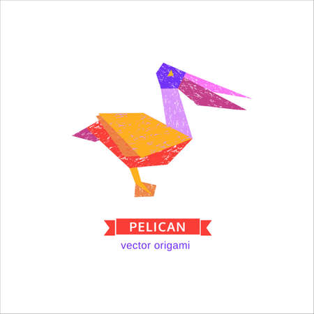 Cartoon bird. Abstract pelican sign. Freehand drawn stylized emblem. Template of logo design. Colorful symbol icon isolated on white. Textured grunge element banner background. Vector illustration