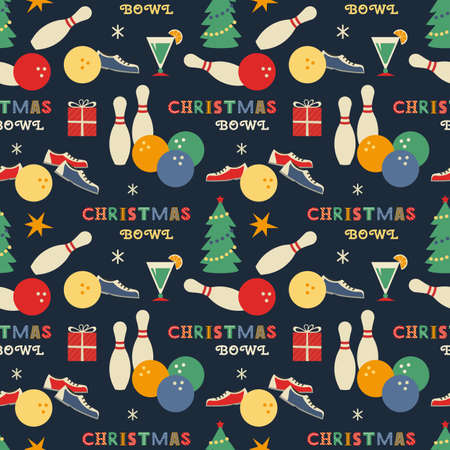 Christmas holiday bowling seamless vector pattern. Bowling ball, pin, shoes, x-mas tree cartoon design element. Sport bowl club winter holidays advertisement. Print, web banner background illustration