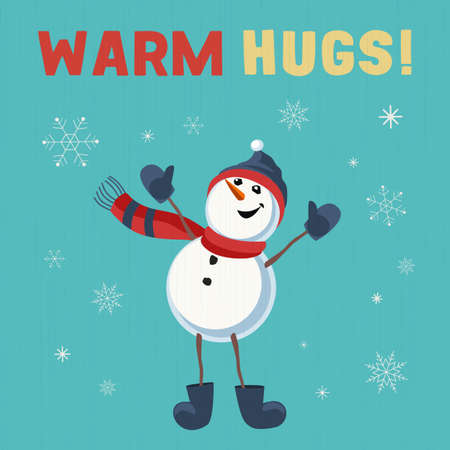 Fancy seasonal vector poster. Cartoon playful fun snowmen cartoon. Merry Christmas winter season warm hugs wish greeting. Holiday season joke cute background. New Year eve party template illustration