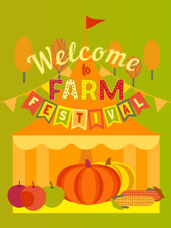 Hand drawn Farm Fall festival flat color vector poster. Agricultural Fair cartoon design element illustration. Pumpkin apple harvest farmers market festival welcome. Autumn season harvet sale template