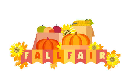 Fall fair hand drawn typographic vector element. Fancy letters, flags, plant crop, autumnal leaves isolated on white background. Autumn fall market invitation. Fair welcome flyer template illustration