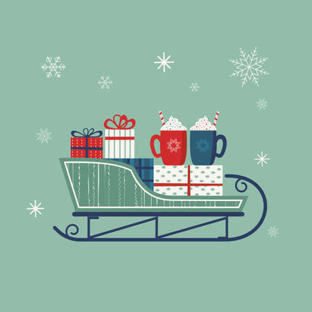 Santa Sleigh vector icon. Christmas snow sledge with gift present boxes, hot cocoa mugs. Flat simple minimal style in retro colors. Winter holiday season new year event design element illustration