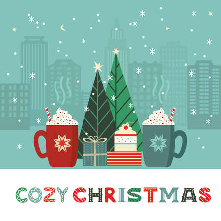 Cozy Christmas gift presents cute flat retro color vector poster. Hot cocoa mug, sweet cake, Christmas tree design element. Handdrawn winter season holidays background. Xmas greeting card illustration