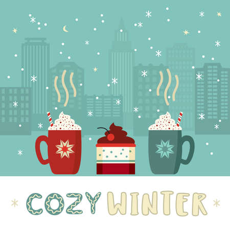 Cozy winter cute flat retro color vector poster. Warm hot cocoa mugs whipped cream, sweet cake dessert design element. Handdrawn winter season holidays background. Cute xmas greeting card illustration 向量圖像
