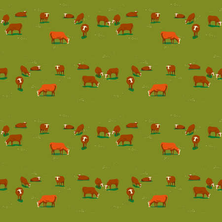 Cows on green meadow flat color seamless pattern