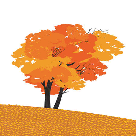 Autumnal Fall maple tree flat color vector icon
