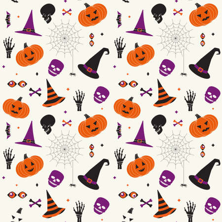 Halloween holiday comic symbol set seamless vector pattern. Cute with hat, pumpkin, skull, black spider web cartoon design element. Halloween funny decorative wallpaper banner, background illustration 向量圖像