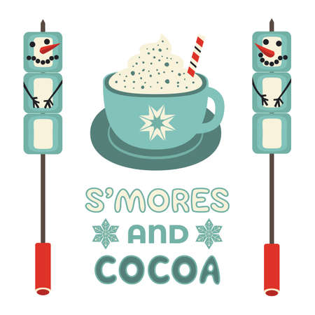 Warm cozy smores and cocoa station welcome sign vector icon. Roast marshmallow snowman hot cocoa chocolate cup bar entertaining illustration. Seasonal outdoor activity background. Winter campfire fun Çizim