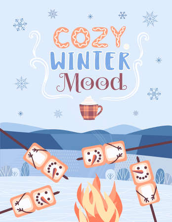 Cozy Winter Mood fun party welcome vector poster Çizim