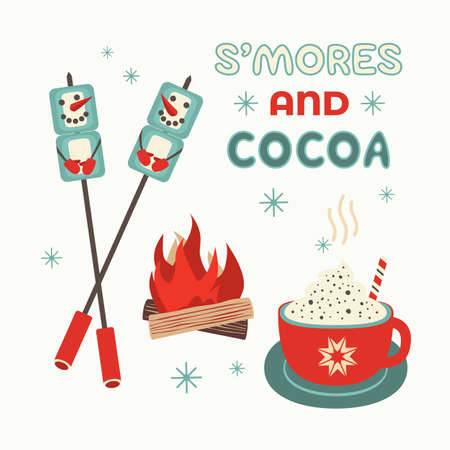 Warm cozy smores and cocoa welcome sign vector Çizim