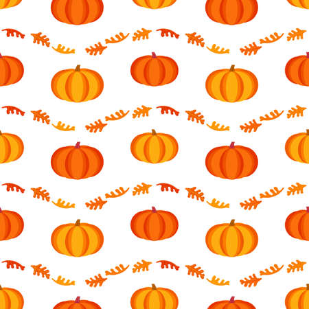 Happy Thanksgiving Day holiday geometric seamless vector flat pattern. Cute pumpkin, oak leaves cartoon design. Hand drawn autumn Fall harvest holiday festival celebration background illustration