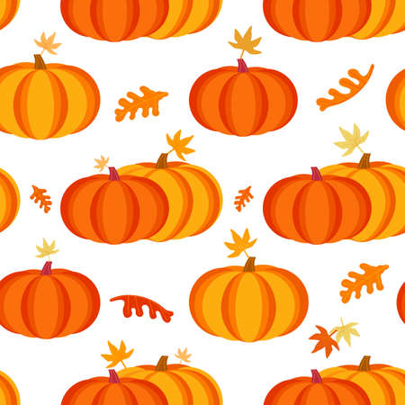 Happy Thanksgiving Day holiday fancy seamless vector flat color pattern. Cute pumpkin falling leaves cartoon design. Hand drawn autumn Fall harvest holiday festival celebration background illustration 向量圖像