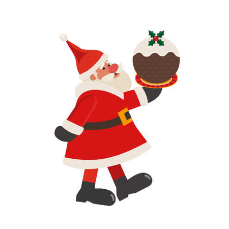 Santa Claus with Christmas Pudding vector icon