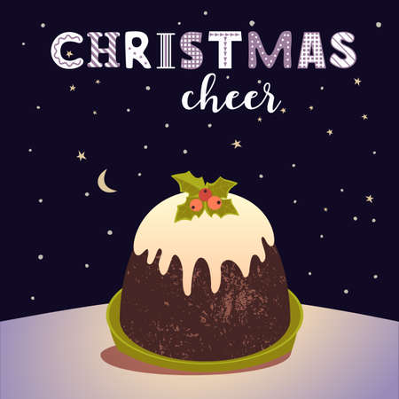 Christmas Pudding Decorative vector poster. Winter season holiday cartoon. Traditional plum pudding, brandy butter, holly sprig ornament background. Christmas decoration greeting template illustration 向量圖像