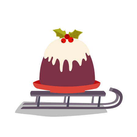 Christmas Pudding on Santa Sleigh vector icon. Winter season holiday cartoon. Traditional Sled, Plum Pudding, brandy butter, holly sprig background. Christmas Decoration greeting template illustration 向量圖像
