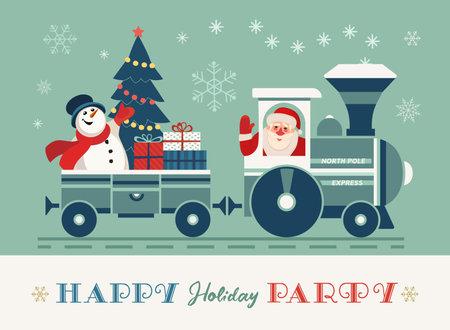 Happy holiday Santa train party vector poster. Comic steam Christmas Polar express, presents cartoon. Santa Claus, snowman fun railroad travel. Holiday season kids celebration magical Christmas train
