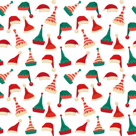 Santa Claus helper elf hat icon vector set seamless pattern. Santa red hat Christmas elves cap sign cartoon. Traditional head wear Christmas celebration background. Fun holiday costume illustration