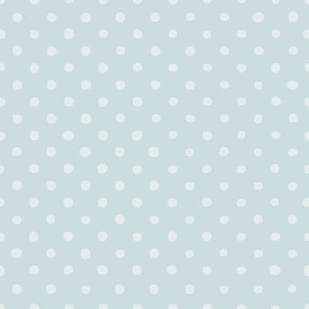 Hand drawn Blue Polka Dot vector seamless pattern. Cute circle round shape cartoon design element. Textile decorative Retro Styled Background background. Template wrapping paper, wallpaper, web banner