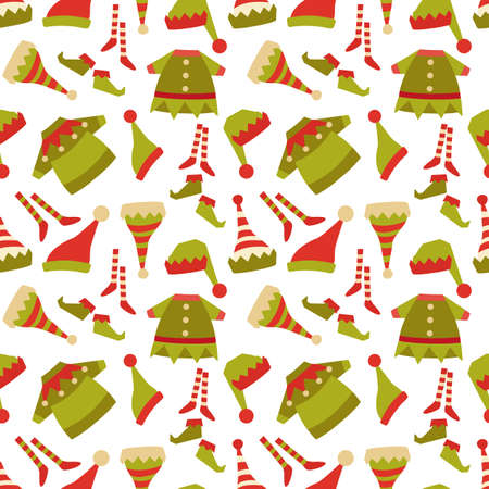 Elf costume icon collection seamless pattern