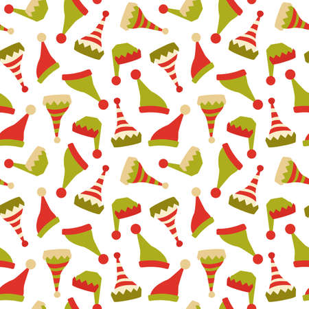 Santa Claus elf hat icon seamless vector pattern