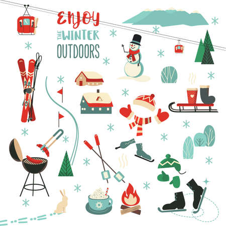 Winter Outdoors fun sport activity icon collection