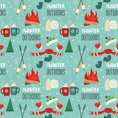 Winter outdoor leisure fun seamless vector pattern 向量圖像