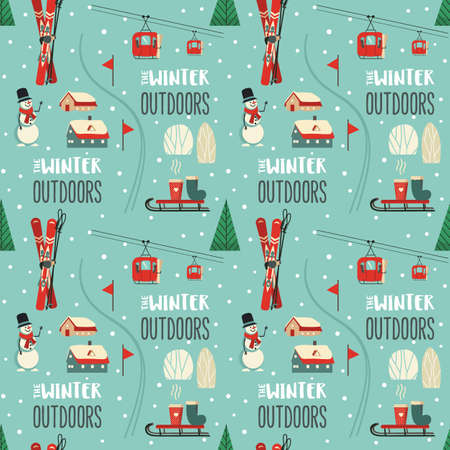 Winter outdoor activity vector seamless pattern 向量圖像