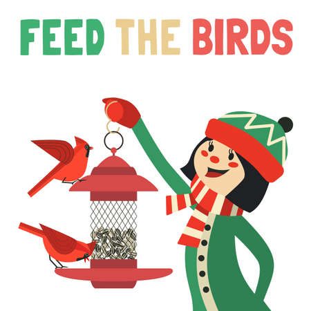 Girl feeding birds in wintertime flat color vector 向量圖像