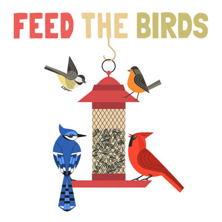 Bird feeding flat color vector poster 向量圖像