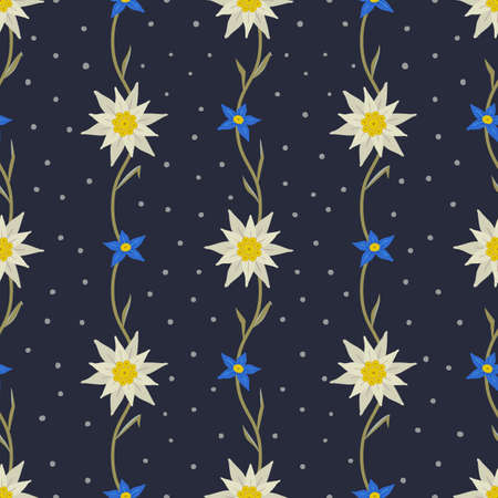 Floral Polka dots hand drawn seamless pattern