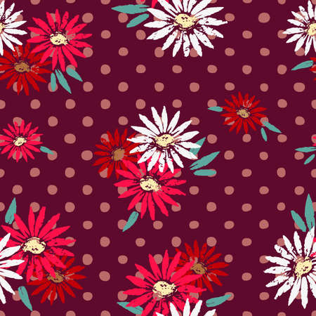Flower polka dots hand drawn seamless pattern