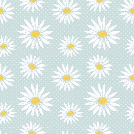 Flower polka dots hand drawn seamless pattern