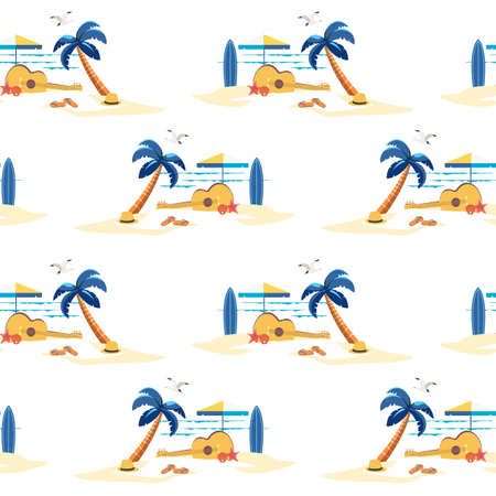 Beach Lanscape Tropical Scene seamless pattern