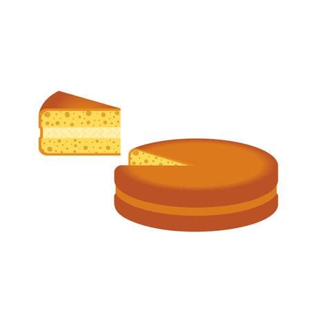 Homemade Cream Pie Slice flat color vector icon