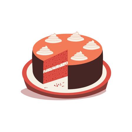Homemade Red Velvet Cheesecake flat vector icon